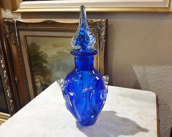 Cobalt Blue Glass Barware Decanter Hand Blown Pulled Loop Design Liquor Spirits