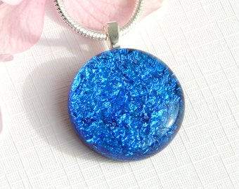 Small Round True Blue Dichroic Glass Pendant - Fused Glass Jewelry - Blue Glass Necklace