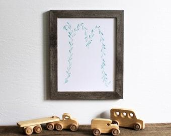 leaf letter M wall art print - initial monogram nursery decor alphabet watercolor 8x10 painting home decor modern art