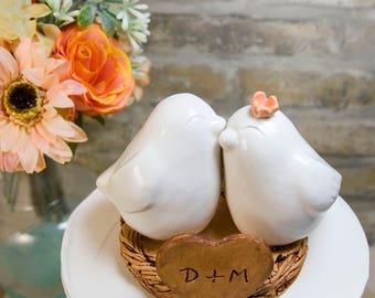 White Love Bird Wedding Cake Topper
