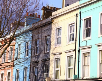 London Print, London Photo, Notting Hill, Coloured Houses, Fine Art Photography, Home Decor, Wall Art, London, England, England Art