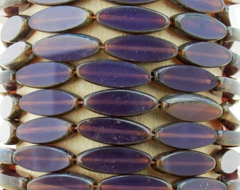 16x6mm Dark Purple Opal Picasso Table Cut Firepolish Czech Glass Spindle Beads - Qty 12 (BS73)