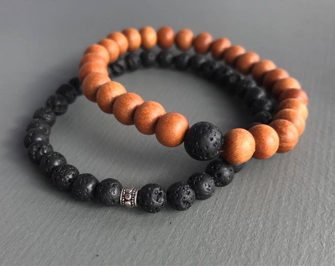 men's lava beaded mala bracelet