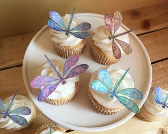 Dragonfly Toppers - Edible Paper Cupcake Toppers - Wedding Cake Toppers - Wafer Paper - Please Read Item Details for more information