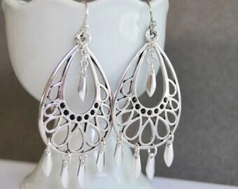 Silver Chandelier Earrings, Gypsy Dangle Earrings,  Boho Earrings, Silver Drop Earrings, Fluttery Silver Earrings, Hand Made Jewelry