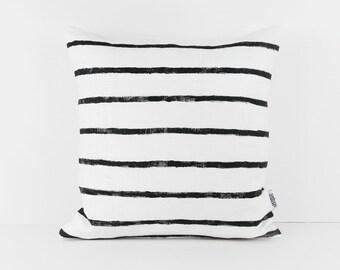 Black and White pillows, Monochrome Nursery, Scandinavian cushion, Black White stripe, Linen cushion cover 20x20, Screen printed cushion