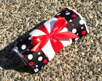 Burp Cloth / Changing Pad: White and Red Polka Dots on Black, Personalization Available