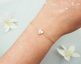 Choose rose gold, silver or gold heart bracelet with personalized initial. Elegant dainty bracelet