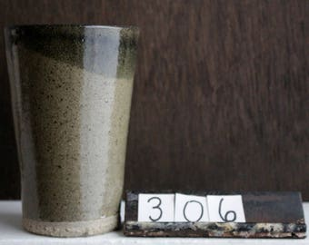 Green Ceramic Tumbler / Stoneware Drinking Cup / Olive Green Pottery Cup / Thrown Simple Pint Glass / Rustic Pottery Iced Tea Glass / 306