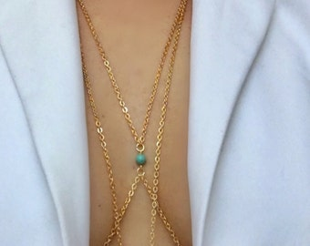 Body chain with turquoise,gold chain with turquoise,blue beads, gold body chain,genuine turquoise beads,gold chain with blue bead,
