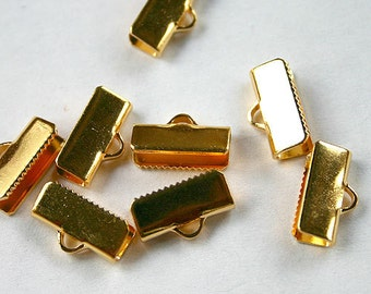 20pcs 13x5mm Clamps Crimp Ribbon End Gold-Plated Brass Smooth Finish