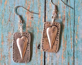 HEART Earrings Silver Pewter Charms Dangle Pierced