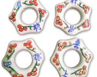 Four Chinese Large Beautiful Oriental Style White Red Blue Green Painted Ring Beads with Holes