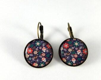 earrings, floral, retro spring earrings