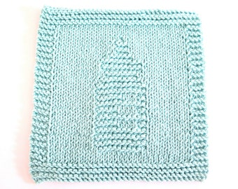 Knit Washcloth Baby Bottle Robin's Egg Blue Cotton