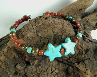 Turquoise Star Bracelet, Minimal Cuff Bracelet, Memory Wire Cuff, Brown Goldstone, Delicate Bracelet, Magnesite, Antique Bronze