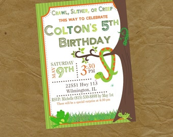 Reptiles and Bugs Birthday Party Invitation Frog Snake Grasshopper Cricket Lizard - Digital Personalized File to Print