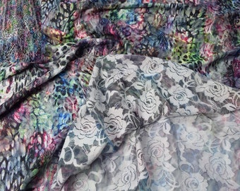"White/colorful stretch rose lace digital printing Stretchspitze fabrics, ""fabric-City"", 4464"