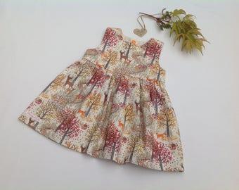 Girls Woodland dress, Fall dress, Deer, Fox, Girls Dress, Toddler clothing,  Baby girl, Gift for Christmas,