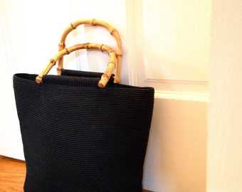 Sale Vintage Handbag/ Black Nylon Woven Tote Bag with Bamboo Handles