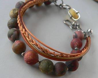 jasper bracelet, boho bracelet, sterling silver, jasper and amber,