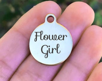 Wedding Stainless Steel Charm - Flower Girl - Laser Engraved - Silver Circle - 19mm x 22mm - Quantity Options - ZF306