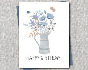Happy Birthday Flowers Notecard Instant Download PDF