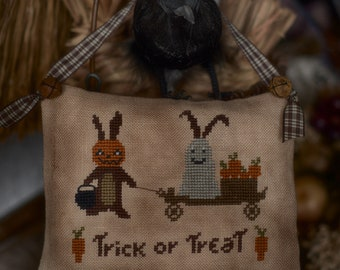 Hallowbunnies by TheWitchyStitchyRabbit  PDF Halloween Cross Stitch Pattern