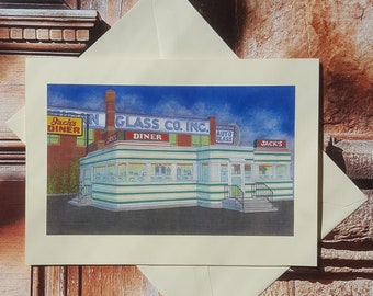 Jack's Diner - Fine Art Note Card, Albany, New York, Greeting Card, Birthday Card, Thank You Card