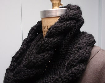 Hand Knit Cable Stitch Cowl in Bulky Yarn Black