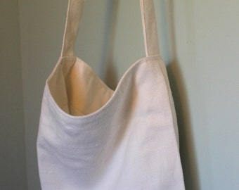 Handmade White Linen Tote Bag with Pockets