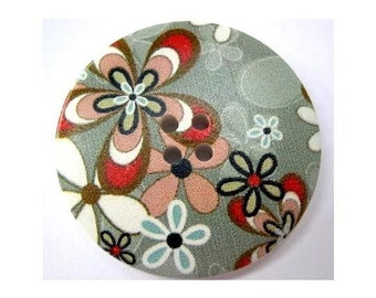 6 Buttons, wood, 40mm, beautiful colorful flowers picture, for crafts, button jewelry