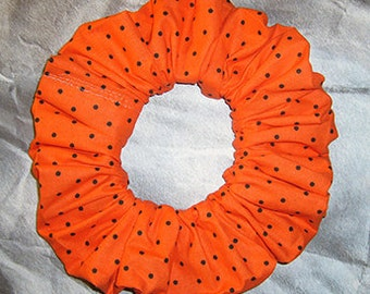 Polka Dot Hair Scrunchie, Holiday Hair Tie, Autumn/Halloween/Thanksgiving Ponytail Holder , Orange Black Polka Dot