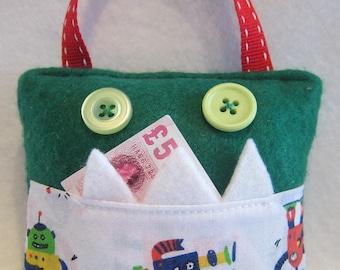 Kids green monster tooth fairy pillow pocket, robot