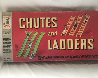Vintage 1956 Milton Bradley No 4120-A Chutes and Ladders Board game