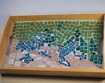 Blue Frogs Mosaic Tea Tray