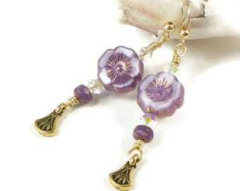 Purple Flower Earrings For Women | Purple Flower Jewelry For Spring | Floral Jewelry Gift For Women |  Solana Kai Designs | Portland Oregon