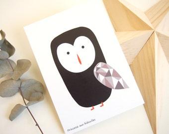 """Card: """"Owl"""" grey"""