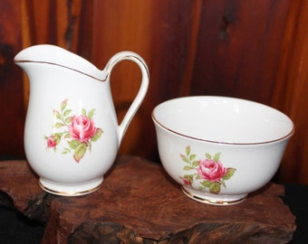 Queen Anne Bone China Made in England Creamer and Open Sugar Bowl Hand Painted and Numbered