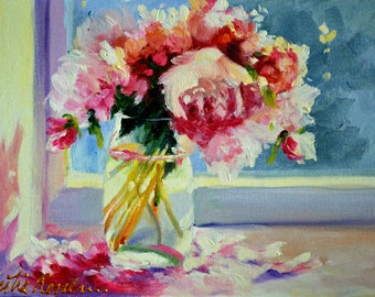 ART print of PEONY PETALS,oil on canvas, wall art, kitchen art, pink peonies, impressionistic painting of peonies