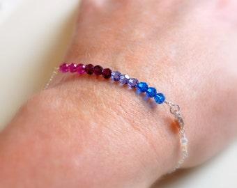 Dainty Crystal Bracelet, Sterling Silver, Genuine Swarovski Beads, Capri Blue Tanzanite Amethyst Fuchsia, Jewel Tone, Delicate Jewelry