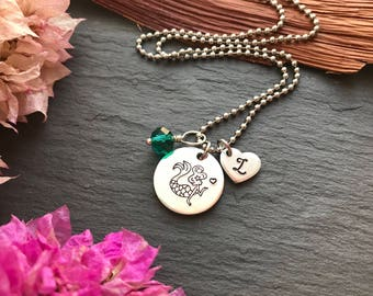 Girls Mermaid Necklace - Mermaid Necklace with Birthstone - Mermaid Gifts - Mermaid Necklace -  Mermaid Jewellery - Gift for Her