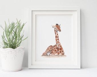 Giraffe print G189DL, print of watercolour painting, baby giraffe print, baby animal watercolor print, downloadable print of baby animal