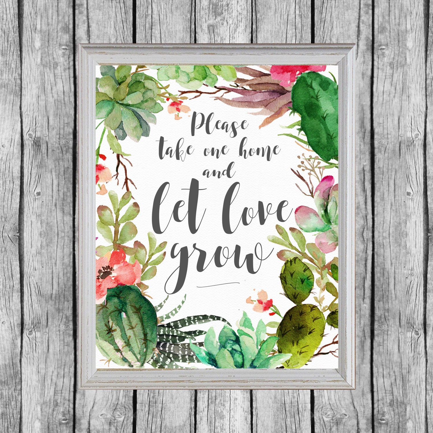 Let Love Grow Sign. Succulent Favors Sign 8x10 Digital File