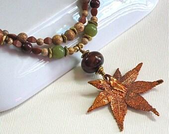 Real Leaf Necklace - Maple Leaf, Aventurine, Jade, Brass Necklace - Fall Foliage