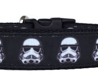 Storm Trooper Heads Ribbon Dog Collar