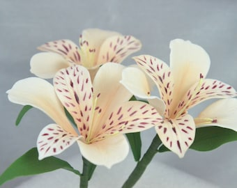 sugar alstroemeria flowers, set of 3, sugarpaste, handmade, cake topper, wedding cake, edible, wired,