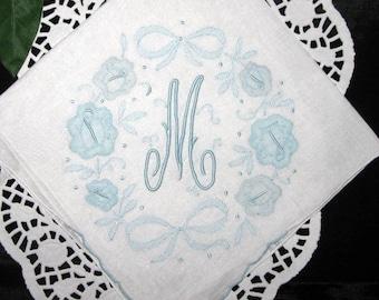 Bride Gift Handkerchief Initial M E B R K A S D F or P Blue Wedding Hanky Monogram Hankerchief Monogrammed Embroidered Hankie Hanky
