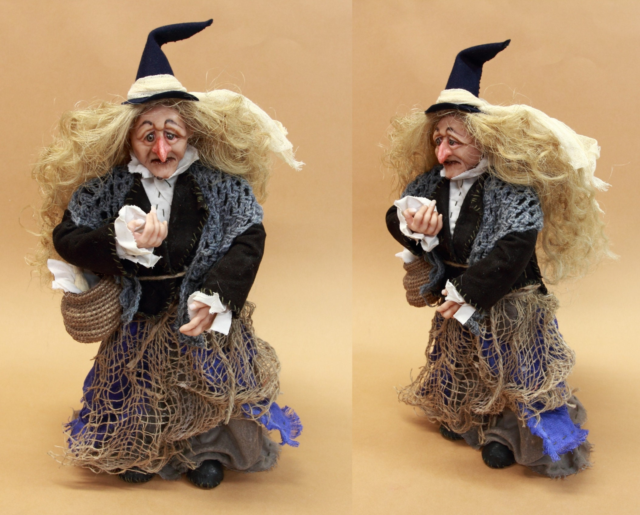 Hexe OOAK Puppe handgemacht alte Frau Figur sammelbare