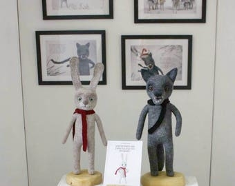 Needle felted hare and wolf / Big art needle felted sculptures / Soft sculpture / Felted toys